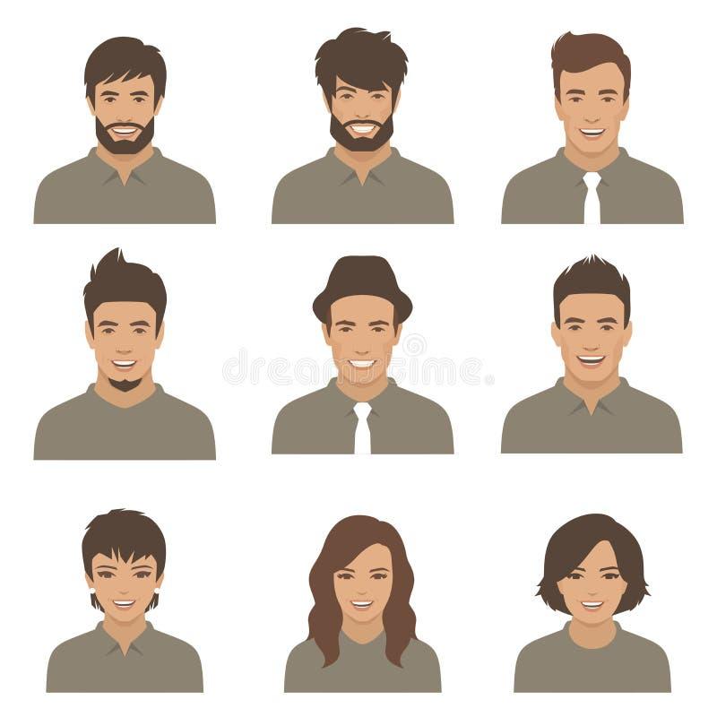 Faces adultas novas mulher, avatars dos desenhos animados do homem ilustração do vetor