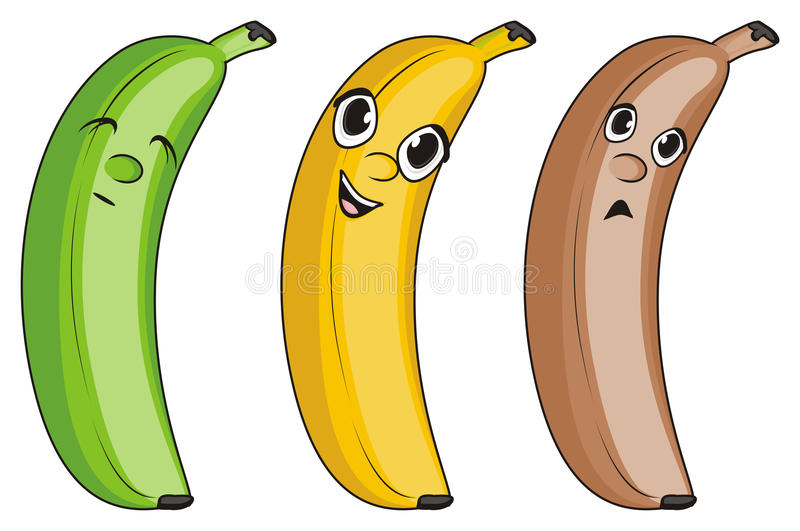 Faces of bananas. Three different faces of bananas with colors and emotions vector illustration