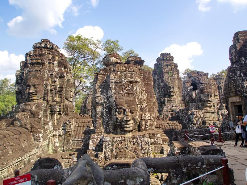 Faces of the Bayon temple in the Angkor Wat in Seam Reap City, Cambodia in 2012 , 9th December. Faces of the `Bayon` temple in the Angkor Wat in Seam Reap City stock photography