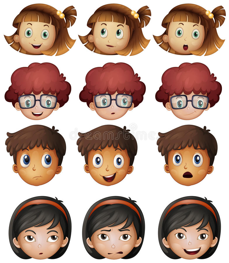 Faces of boys and girls royalty free illustration