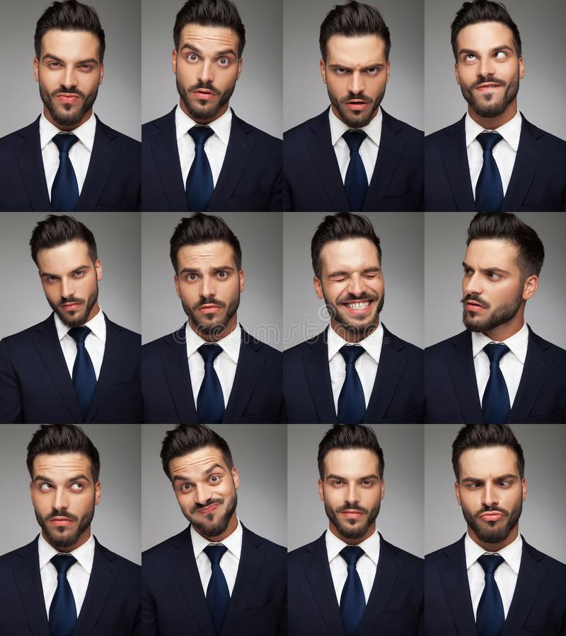 Faces of a business man - collage image royalty free stock photos