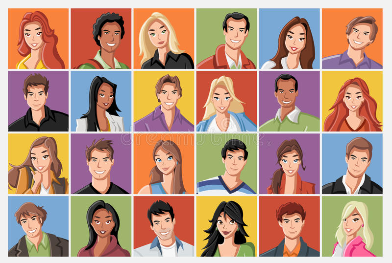Faces of cartoon young people. stock illustration