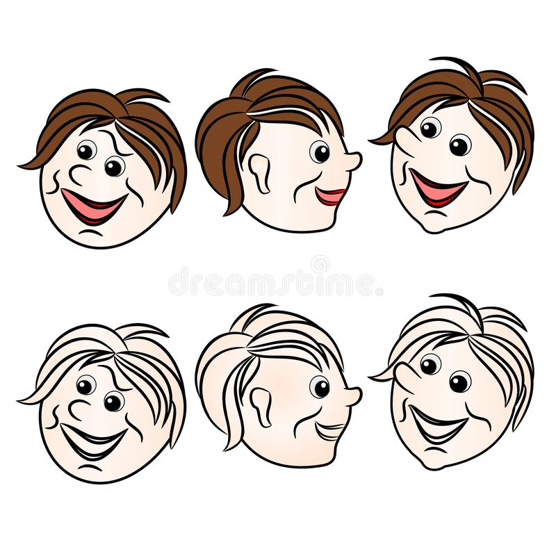 Faces character boys smiling natural and outline set first on a white background vintage vector illustration editable vector illustration