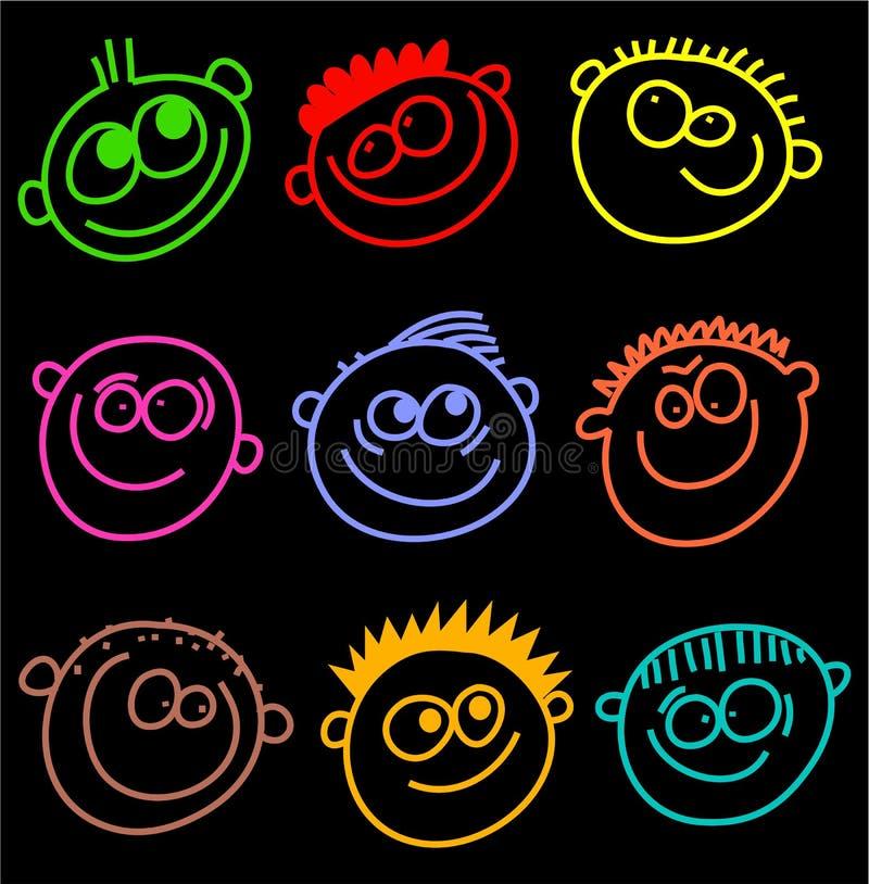 Faces coloridas ilustração do vetor