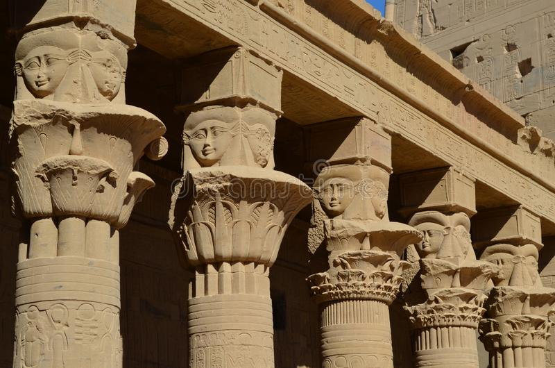 Faces and Columns of the Temple of Philae, Ancient Egypt stock photos