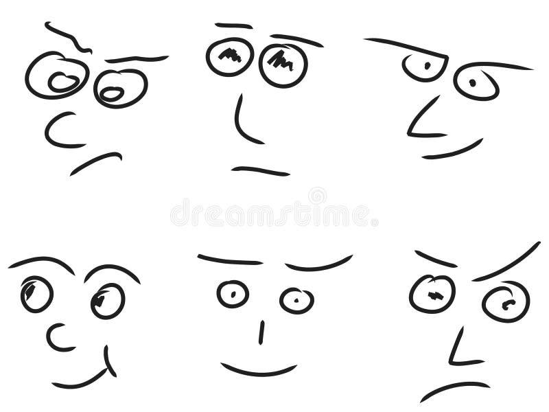 Faces da emoção ilustração royalty free