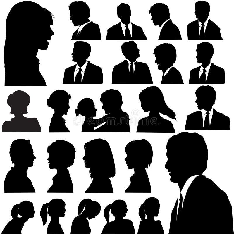 Faces das cabeças dos retratos dos povos da silhueta ilustração stock