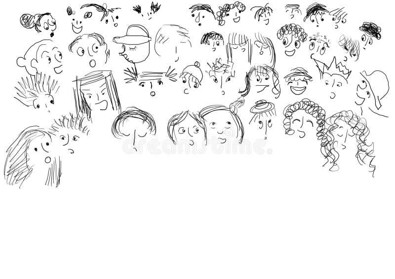 Faces das crianças ilustração royalty free