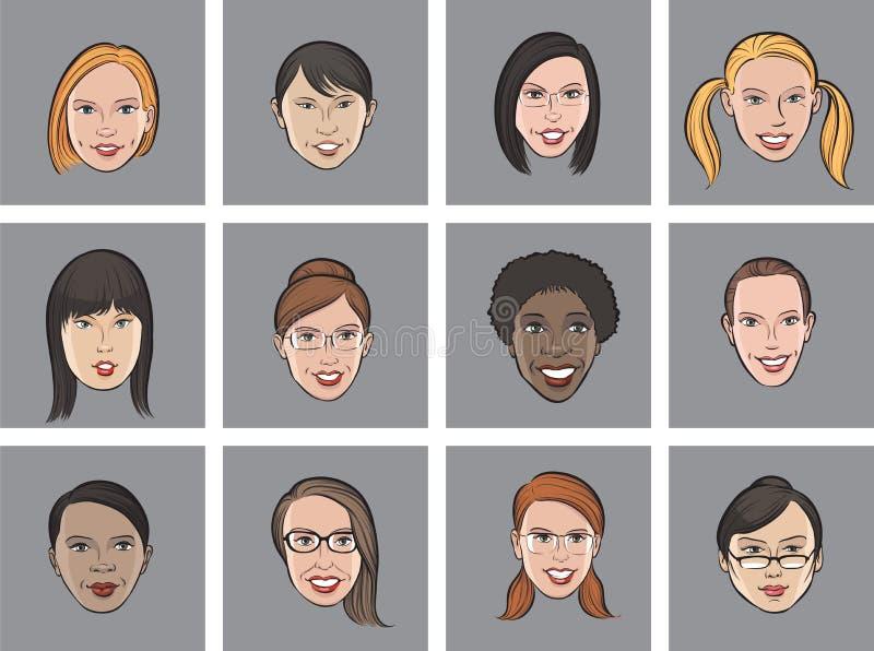 Faces das mulheres do avatar dos desenhos animados várias ilustração stock