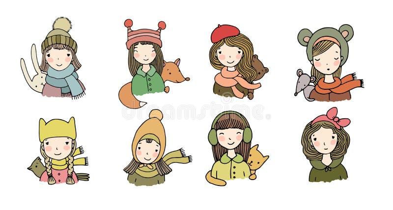 Faces diferentes Meninas em chapéus do inverno Animais engraçados Objetos isolados desenho da mão no fundo branco Vetor ilustração royalty free