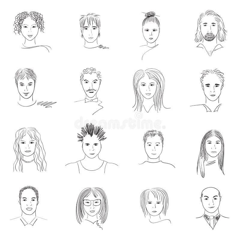 Faces do Doodle ilustração royalty free