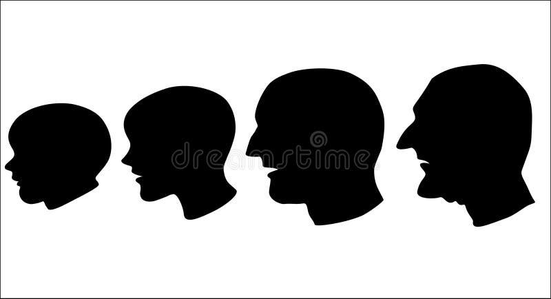 Faces do envelhecimento ilustração stock