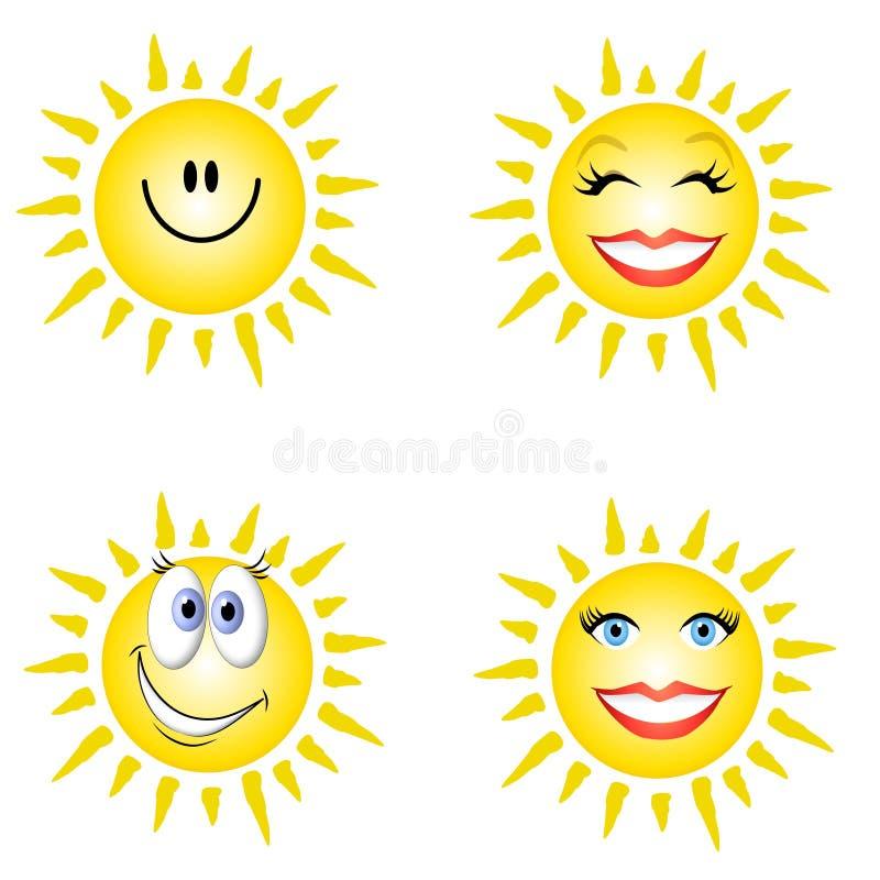 Faces do smiley da luz do sol ilustração stock