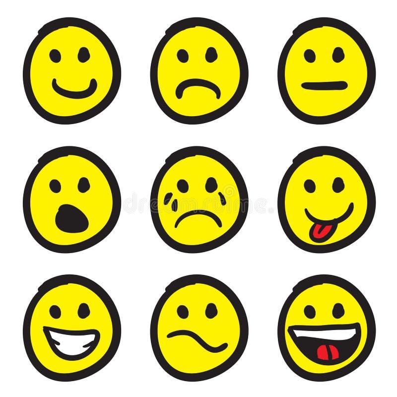 Faces do smiley dos desenhos animados ilustração royalty free