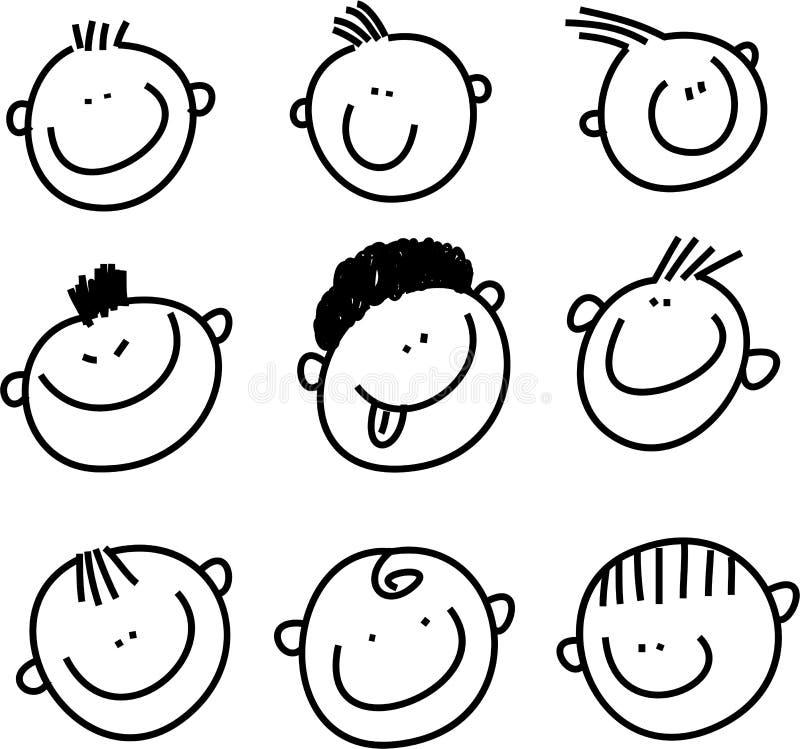 Faces do sorriso ilustração stock
