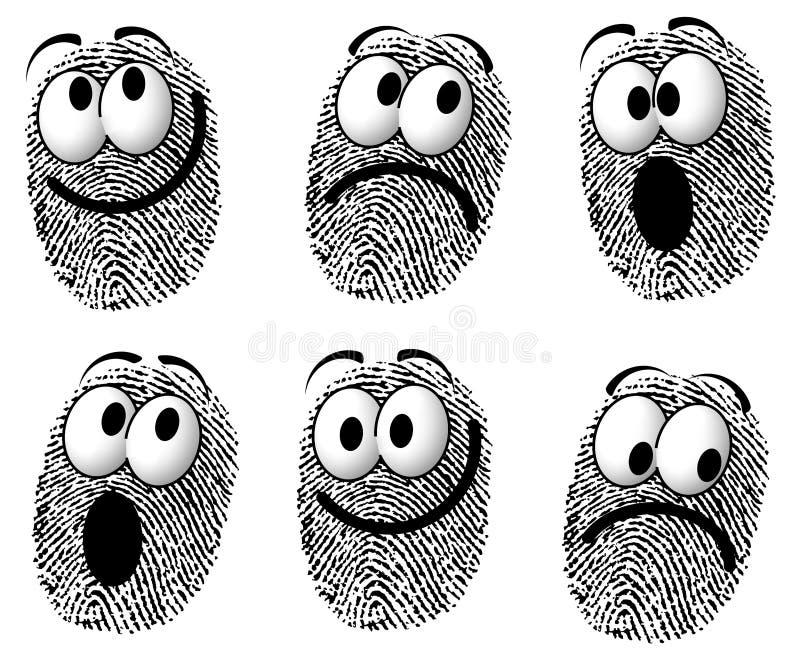 Faces dos desenhos animados da impressão digital ilustração royalty free