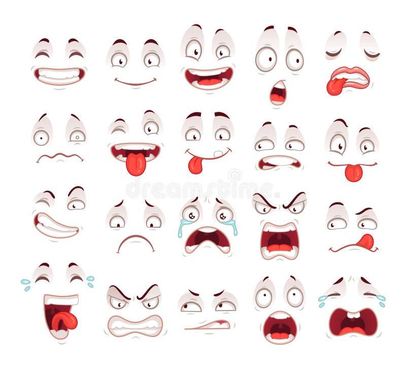 Faces dos desenhos animados Sorriso entusiasmado feliz que ri o grito triste infeliz e expressões assustado da cara Vetor express ilustração stock