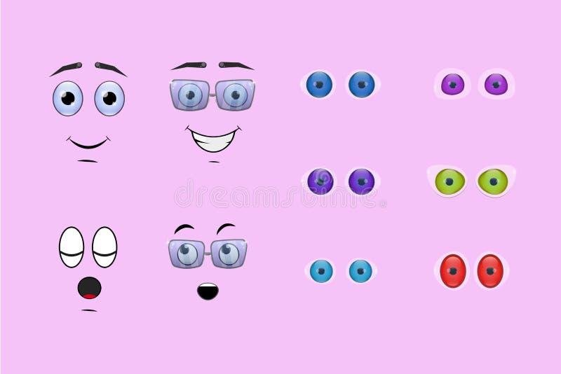 Faces dos desenhos animados ilustração stock