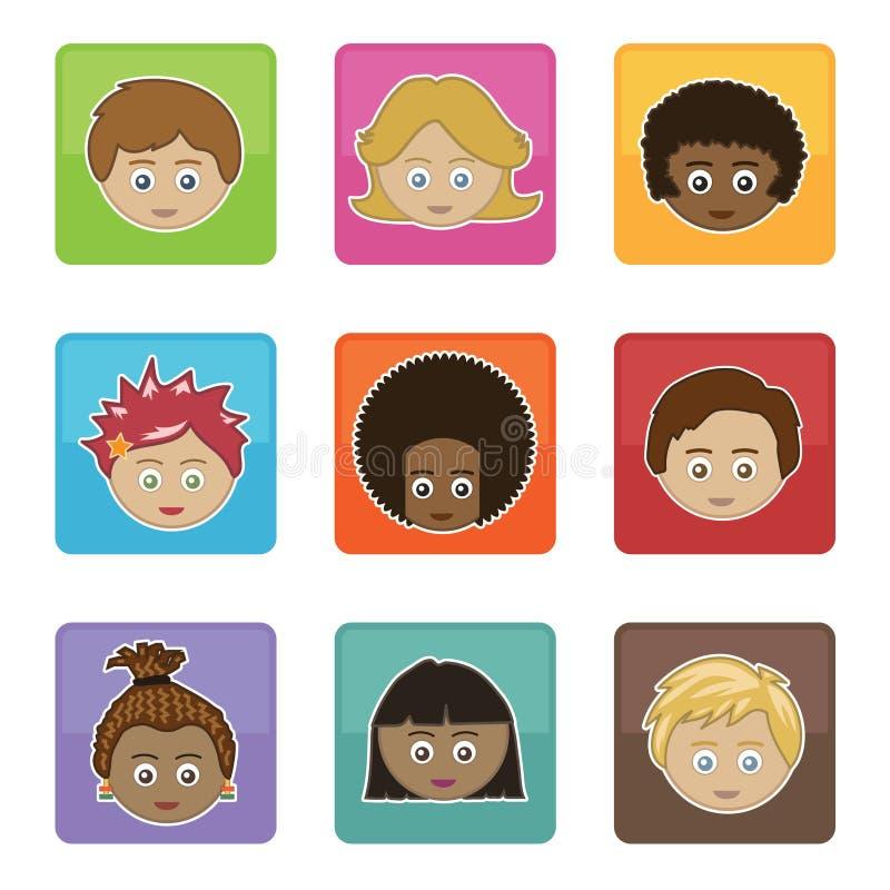 Faces dos miúdos ilustração stock