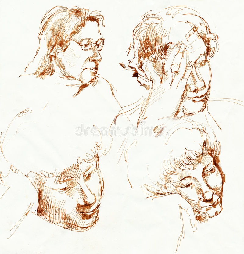 Faces, drawing 1. Hand drawing picture with expression human faces stock illustration