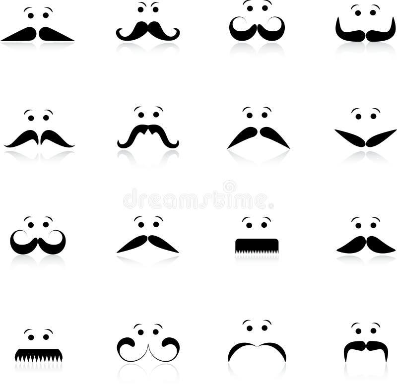 Faces engraçadas do moustache ilustração royalty free
