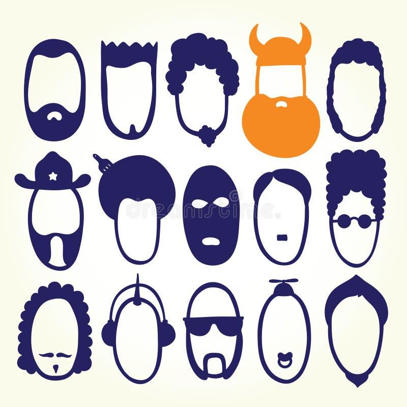 Faces engraçadas dos desenhos animados ilustração stock