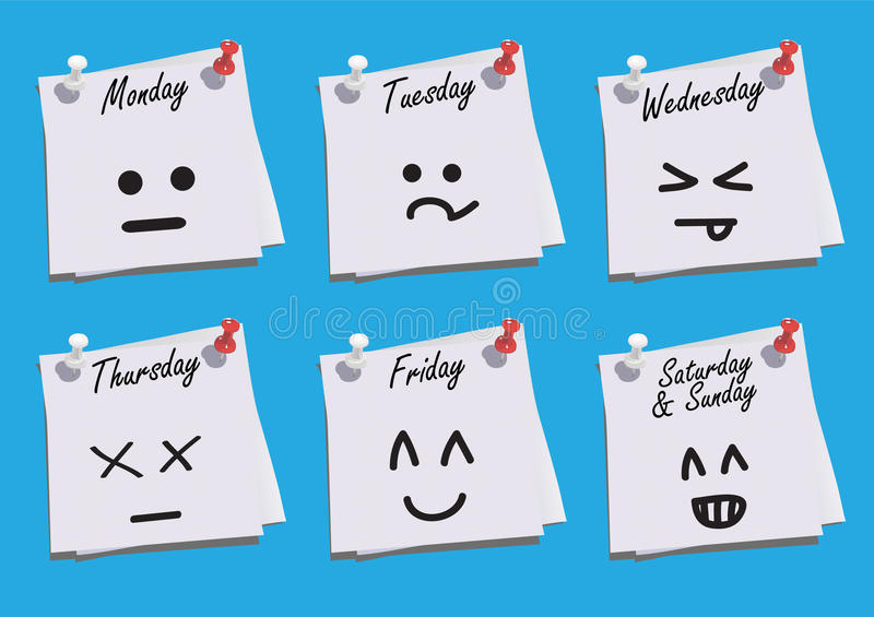 Download Daily Faces Expression On Paper Notes Stock Vector - Image: 17679220