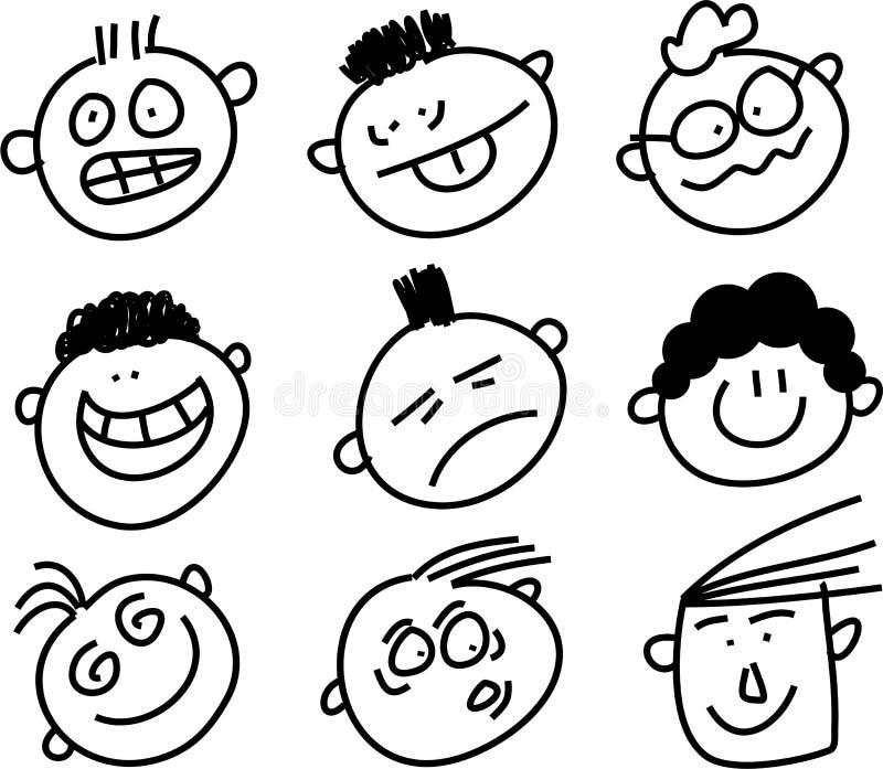 Faces expressivos ilustração royalty free