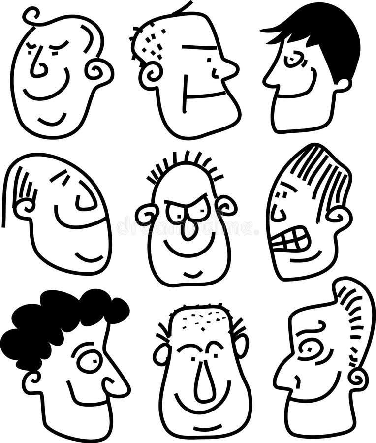 Faces expressivos ilustração stock