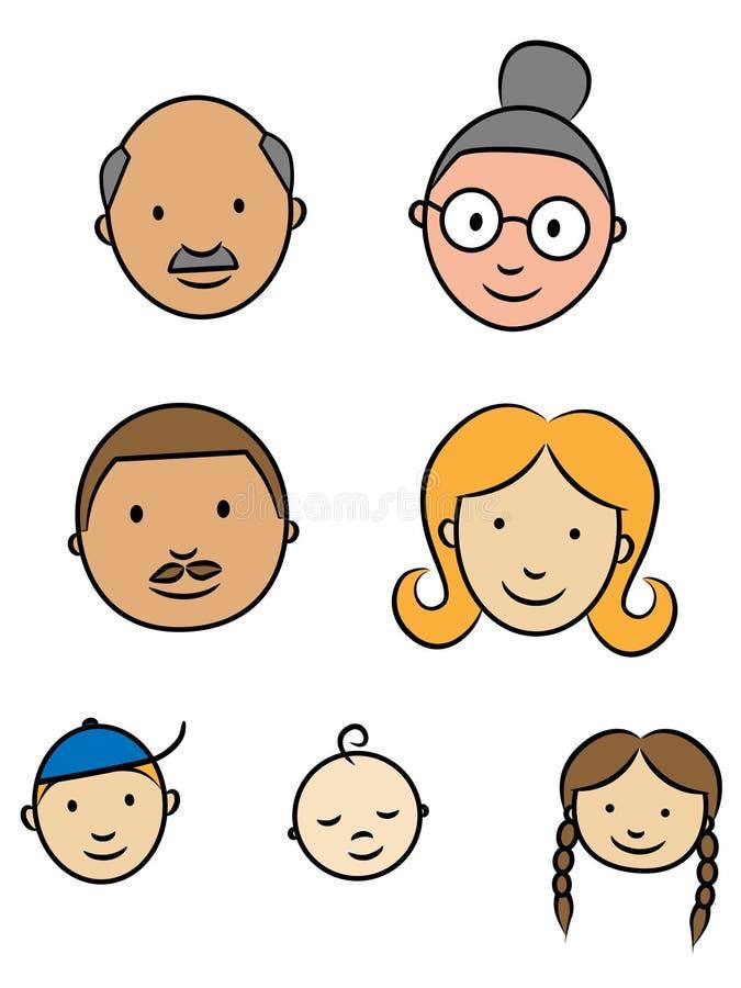 Faces felizes da família ilustração do vetor