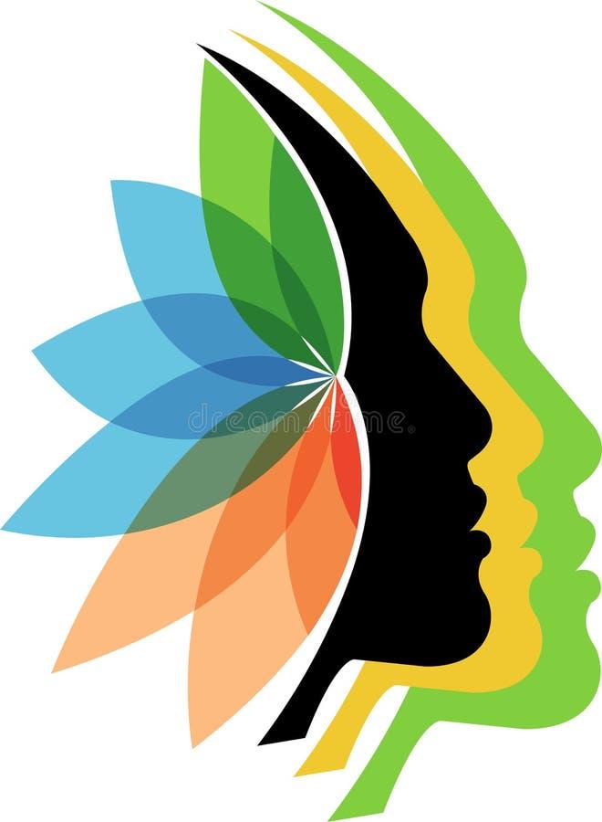 Faces flower logo stock illustration