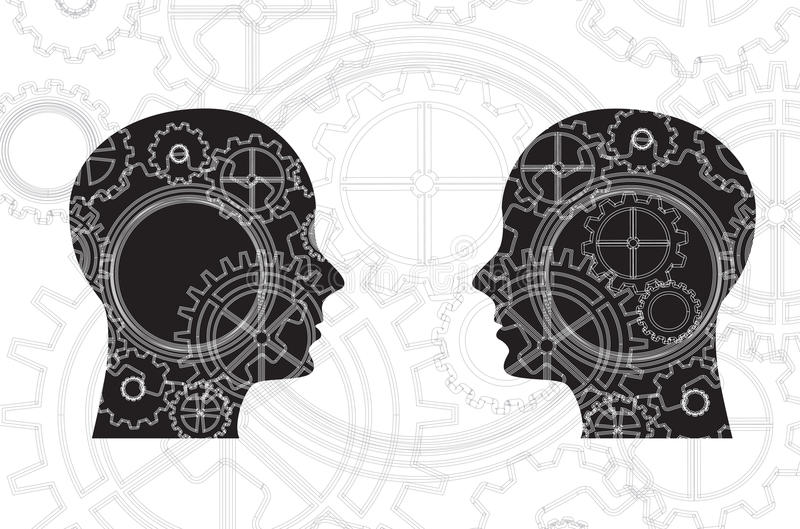 Faces and gears. Over white background vector illustration stock illustration