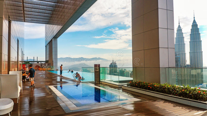 Faces Hotel infinity pool overlooking Petronas Towers stock images