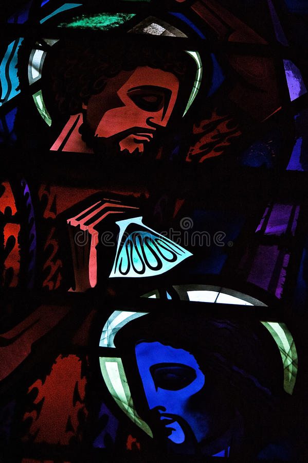 Faces of Jesus Stained Glass Window stock photography