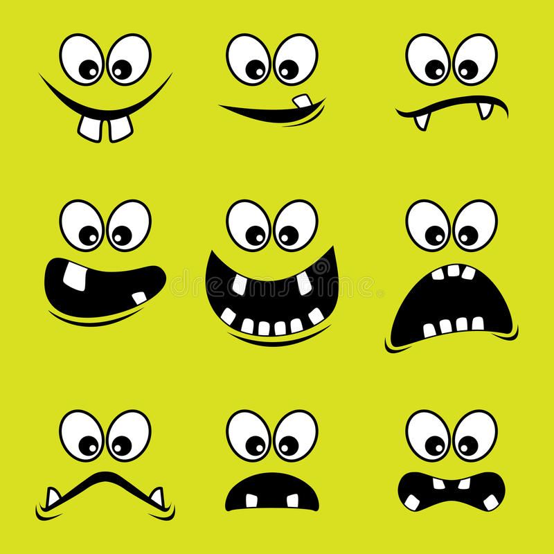 Faces of monsters on a green background royalty free stock image