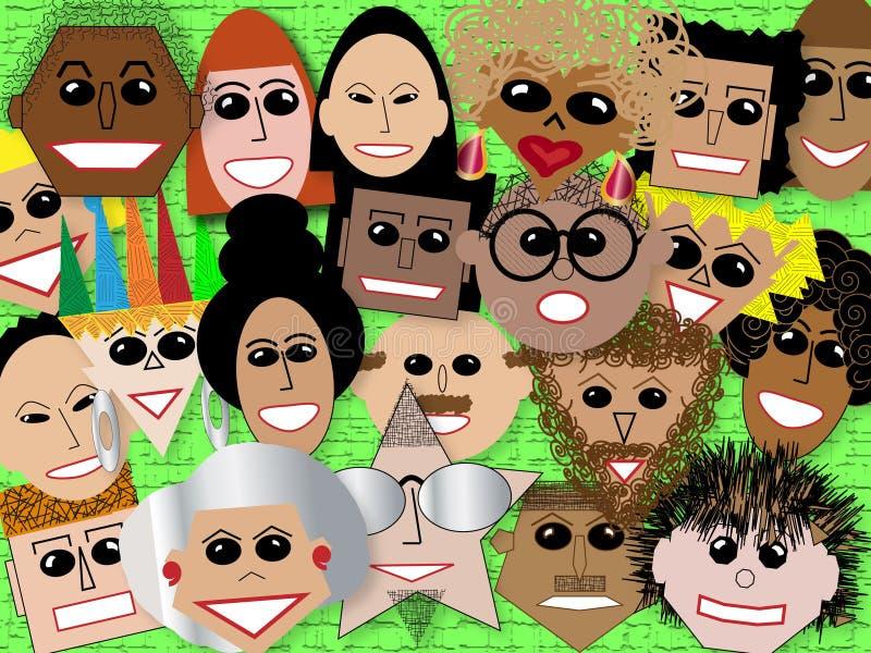 Faces na multidão ilustração royalty free