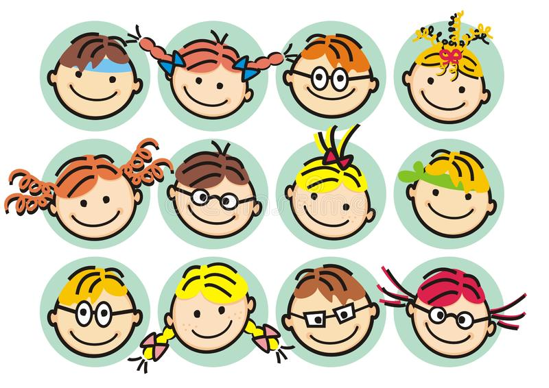 Faces od girls and boys, happy kids, vector illustration royalty free illustration