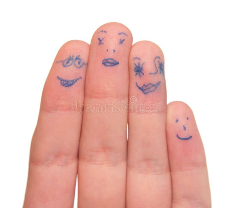 Faces painted on fingers stock images