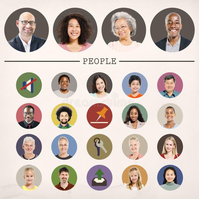 Faces People Diversity Community Portrait Concept vector illustration