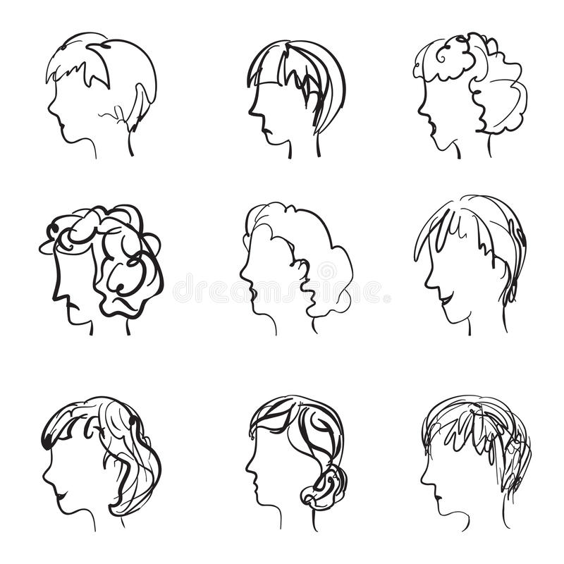 Faces profile with different expressions in retro sketch style. royalty free illustration