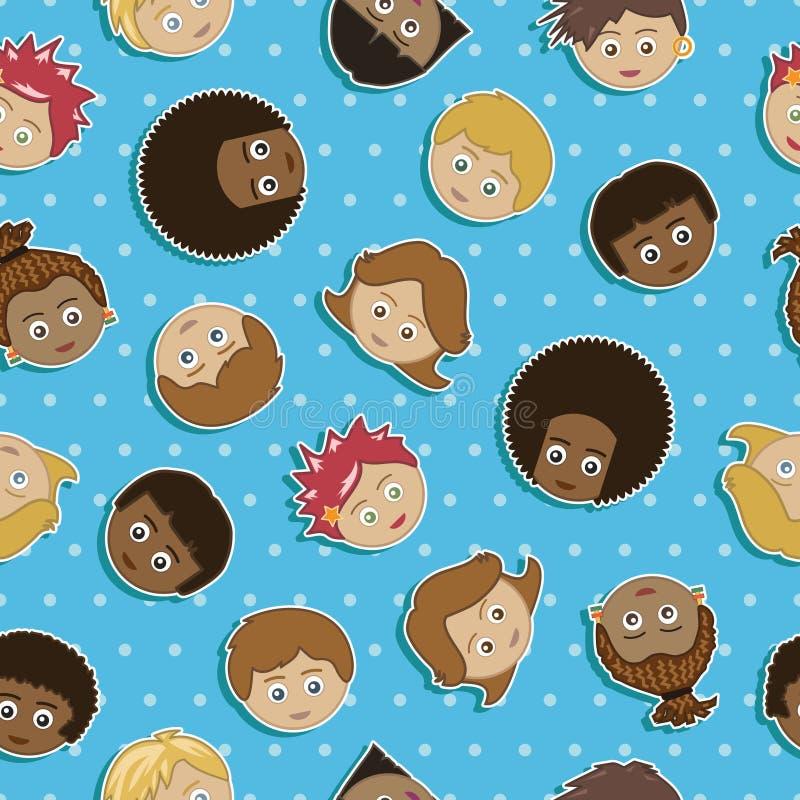Faces sem emenda dos miúdos ilustração do vetor