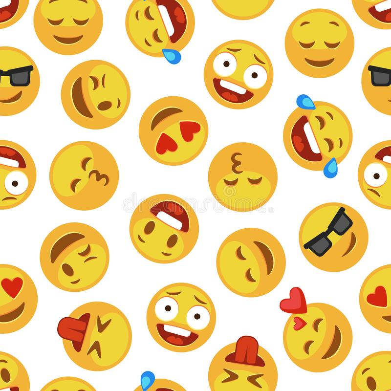 Faces smile pattern. Funny cute smiley expression emotion chat messenger cartoon vector seamless wallpaper royalty free illustration