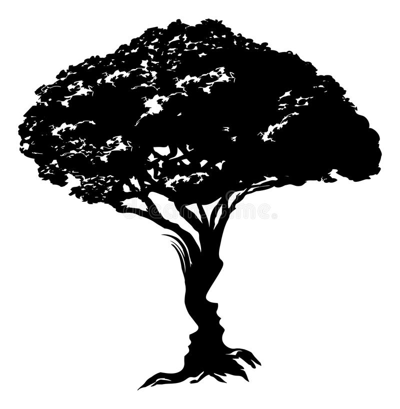 Faces tree concept. An illustration of an abstract tree optical illusion formed from a man and womans face concept design vector illustration