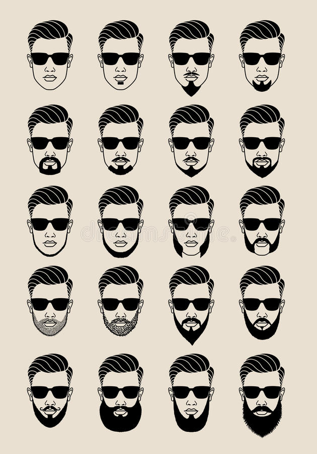 Free Faces With Beard, User, Avatar, Vector Icon Set Royalty Free Stock Photography - 53698657