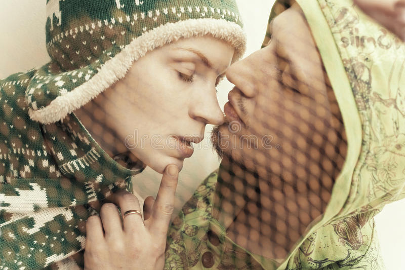 Faces Young Couple In Love Royalty Free Stock Images