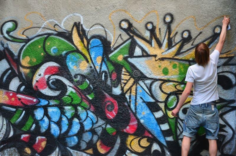 Facetów remisy na graffiti izolują rysunek z aerosolowymi farbami różnorodni kolory zdjęcie royalty free