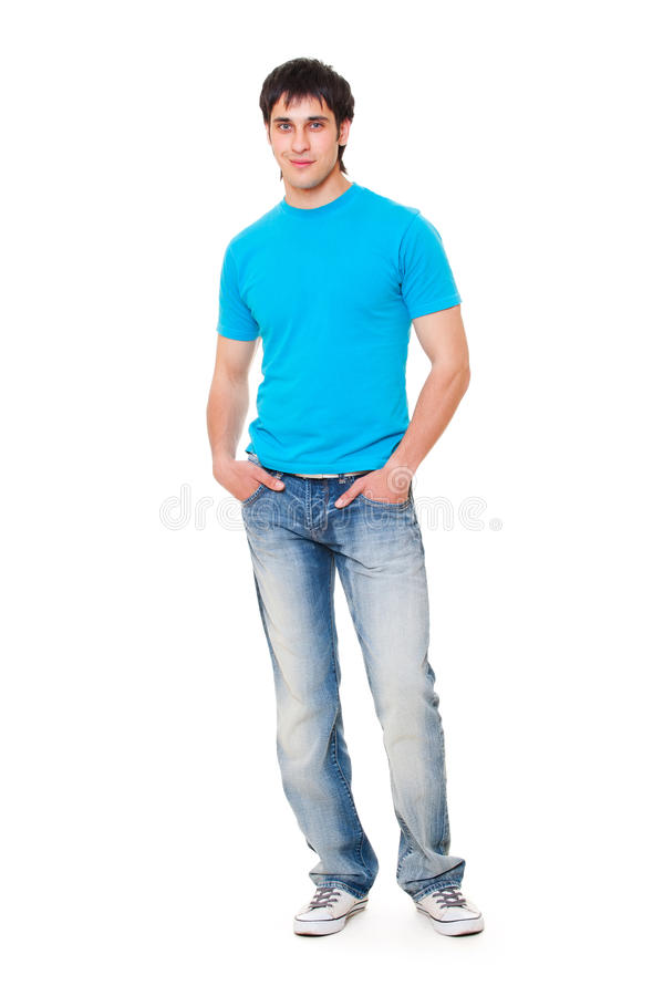 facet błękitny koszula t zdjęcie royalty free