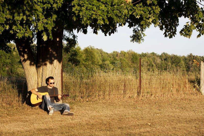 Facet Bawić się Gitarę przy Zmierzchem pod Klonowym Drzewem obraz royalty free