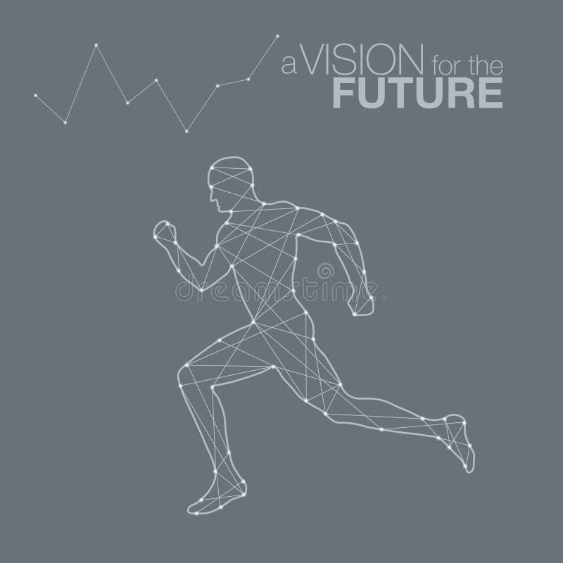 facet biegać biegacz Sport grafika cząsteczki, sieci connecti ilustracji