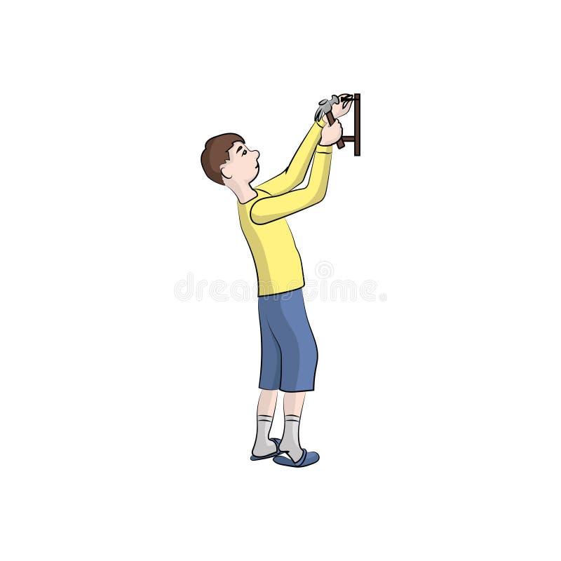 Facet, chłopiec mężczyzna młotkuje półkę z młotem abstrakcjonistyczny koloru ryba ilustraci wektor ilustracja wektor